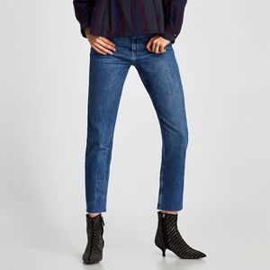 Zara The Vintage High Rise Jeans Pacific Blue NWT